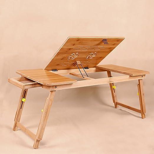 Cuaderno de Bambú portátil Stand Plegable Tabla Notebook Mesa Cama ...