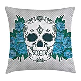 shower&home Skull Throw Pillow Cushion Cover, Skeleton Head with...