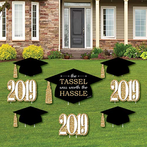 Gold - Tassel Worth The Hassle - Yard Sign & Outdoor Lawn Decorations - 2019 Graduation Party Yard Signs - Set of 8 -