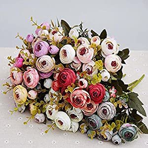 10Heads/1 Bundle Silk Tea Roses Bride Bouquet for Christmas Home Wedding New Year Decoration Fake Plants Artificial Flowers 100