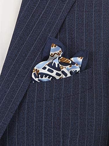 ADAMLEY/ジオメトリックプリント シルクポケットチーフ ブルー×ホワイト×ネイビー