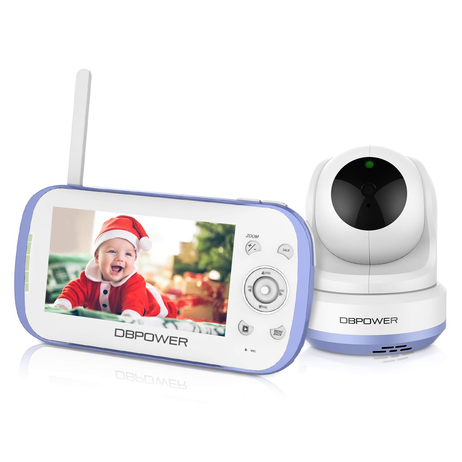 DBPOWER Video Baby Monitor, 270o Pan-Tilt-Zoom/4.3'' Large Screen/VOX/Soothing Lullabies/Temp. Monitor/2-Way Talk/Night Vision/Nightlight/Record/Sound Indicator for Elder/Pet. etc., Camera Expandable