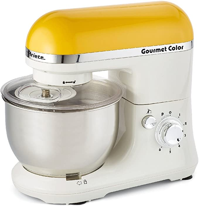 Ariete Gourmet Color 1000W 4L Color blanco, Amarillo - Robot de cocina (4 L, Blanco, Amarillo, Giratorio, Locked, Acero inoxidable, Acero inoxidable): Amazon.es: Hogar