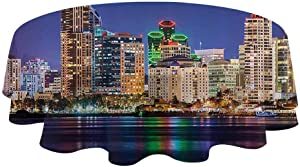 """Apartment Decor Collection Covers For The Home Table Cover Colorful Skyline San Diego at Night North San Diego Bay Boats Architecture Urban Picture Cloth Placemats for dining table (Diameter 36"""")"""