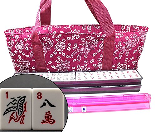 - 166 Tiles American Mahjong Set Violet Red Phoenix Soft Bag 4 Color Pushers/Racks Easy Carry Western Mahjongg