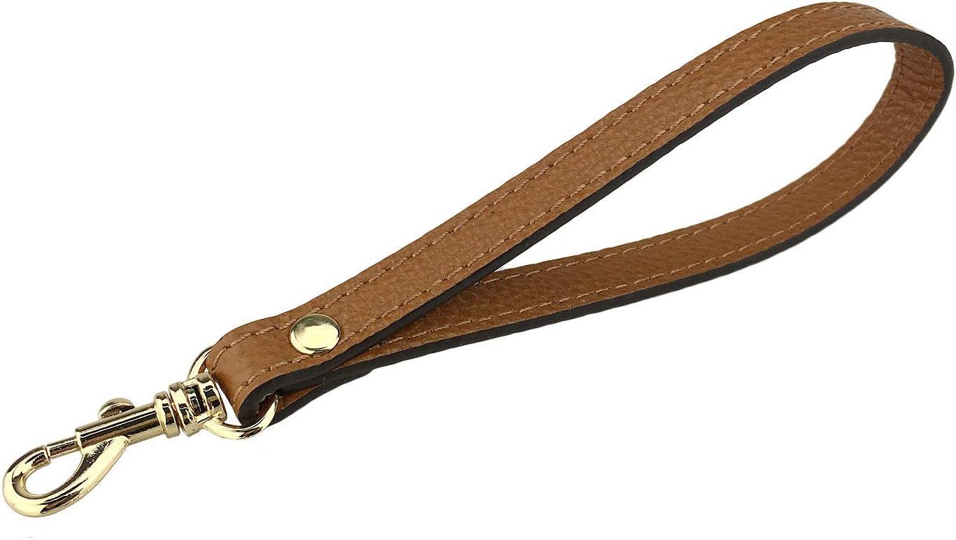 VanEnjoy Black Wristlet Keychain Cellphone Genuine Leather Hand Strap with New Style Golden Lock