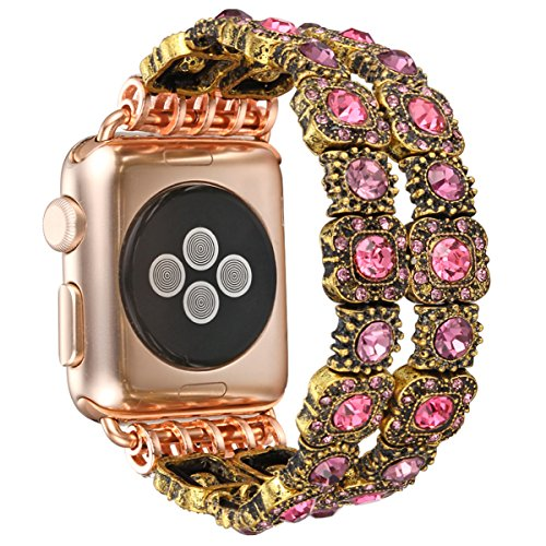 Fastgo Compatible for Apple Watch Band Replacement, Handmade Retro Faux Crystal Stone Bracelet Watch Strap Women Series3/2/1(Pink - 38mm)