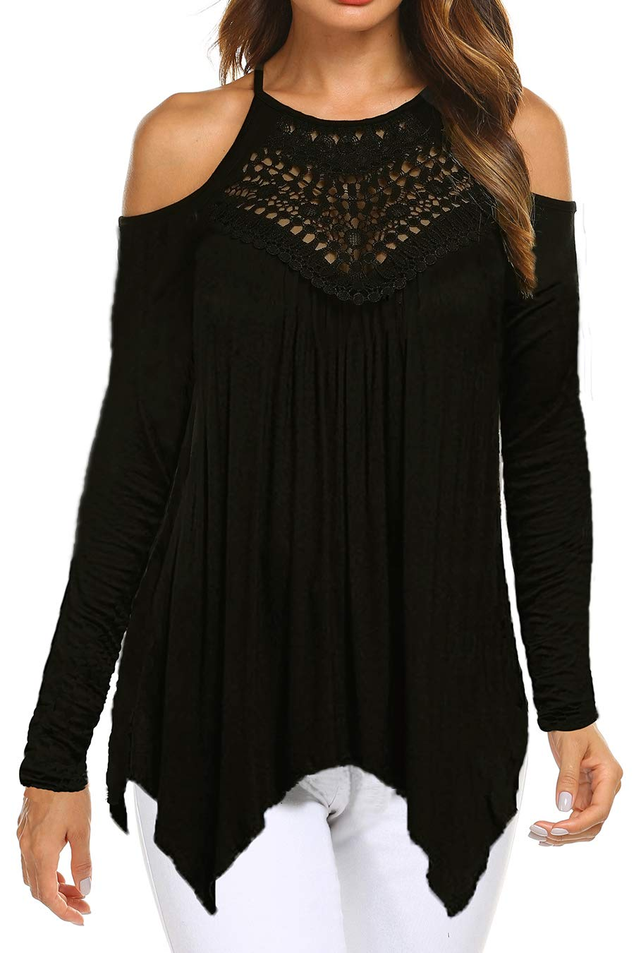Women's Sexy Lace Neck Cold Shoulder Long Sleeve Loose Blouse Tunic Tops Black M