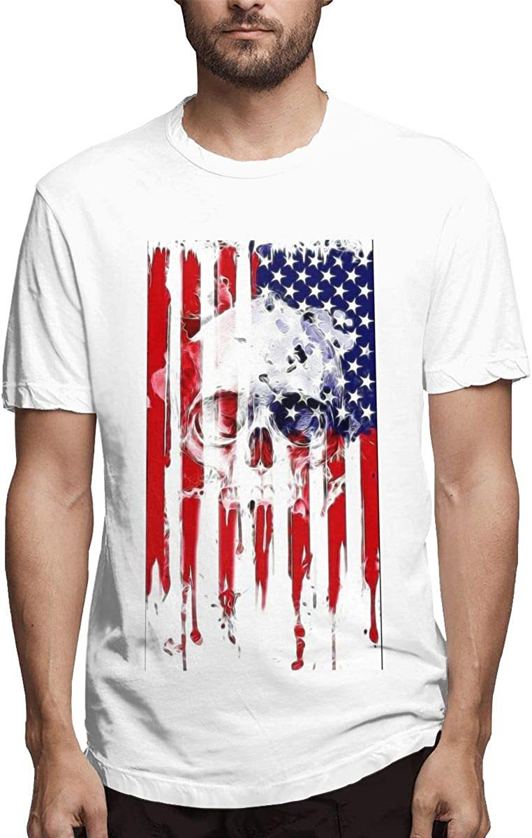 Camiseta de Manga Corta para Hombre, diseño de Calavera con Bandera Estadounidense: Amazon.es: Ropa y accesorios