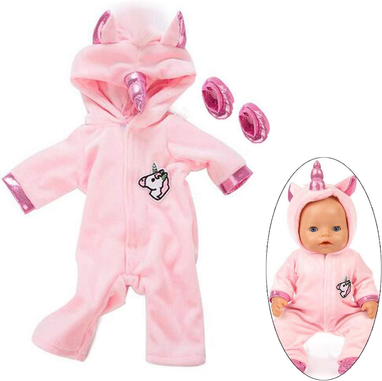 Ouinne Uinicornio Ropa Trajes Vestidos para Muñecas de Bebé en Tamaño 17-18