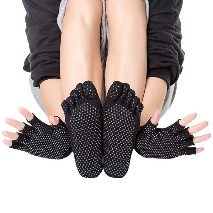 LORYLOLY Calcetines y Guantes Conjunto de Yoga Mujere, 2 ...