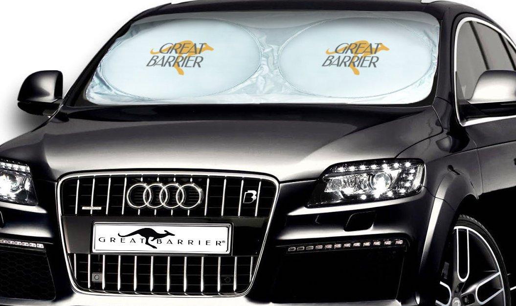 Outback Shade Windshield Sunshade - Car Sun Shade - Premium Sun Shield Made for the Australian Outback. Ultra Tough Sun Protector Car, SUV, Truck and Van. Bonus Blind Spot Mirrors. Now In USA Outback Shades os80cmusa