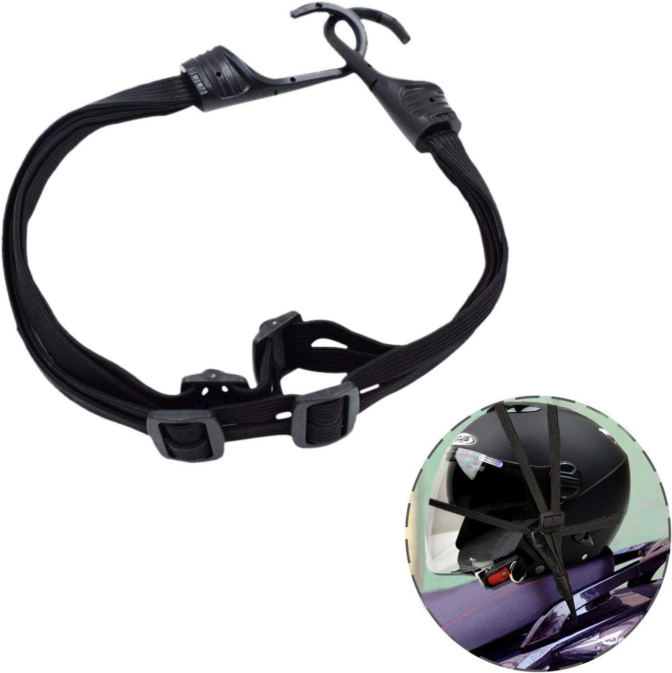 Dogxiong 60cm Motorcycle Luggage Net Helmet Elastic Rope,Retractable Cord 2 Hooks Elastic Rope Strap for Motorcycle Helmet Luggage