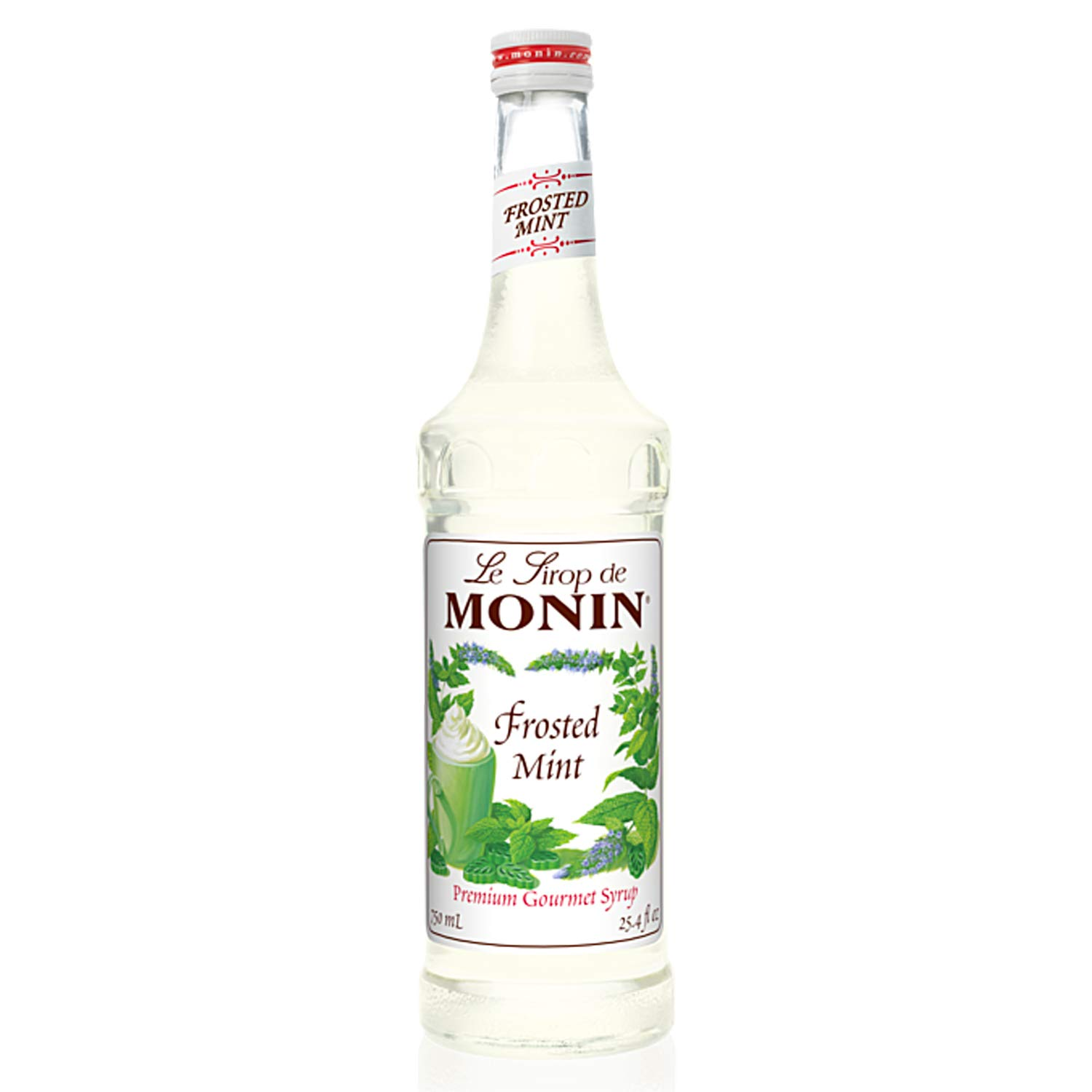 Monin - Frosted Mint Syrup, Bold Spearmint Coolness, Natural Flavors, Great for Smoothies, Sodas, Cocktails, and Teas, Non-GMO, Gluten-Free (750 ml)