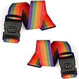 スーツケースベルト,旅行荷物ストラップ ,ロック付き荷物梱包バンド (虹シングル2個セット)