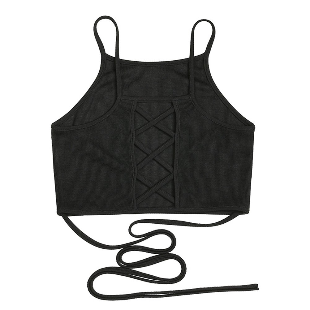 c7e07b374cad17 Tinksky Women Backless Crop Top Bralette Bra Strap Top Vest for Party Nigh  Club Size M(Black): Amazon.co.uk: Clothing