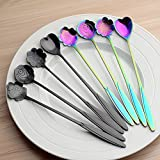 Newest trent Espresso spoons Stainless Steel Flower Tableware Coffee Teaspoon 7inch Mini Mixing Spoon Ice Cream Spoon Dessert Spoon Milkshake Spoon Sugar Spoon Set of 8