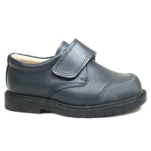 Zapato infantil para el colegio, fabricado en piel, Bubble Bobble A003 color azul, cierre en velcro: Amazon.es: Zapatos y complementos
