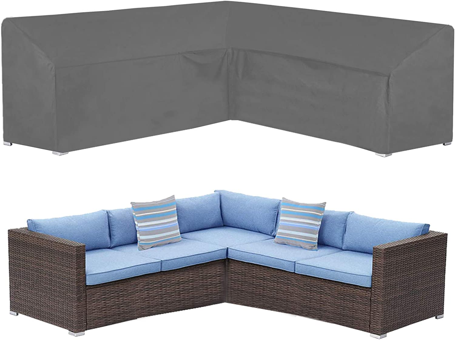 """STARTWO Patio Outdoor V Shaped Sectional Sofa Cover,Heavy Duty Waterproof Anti-UV Coating,Premium Patio Furniture Set Covers Designed with Durable Buckle Straps Air Vent, 100"""" L x 33.5"""" D x 31"""" H"""