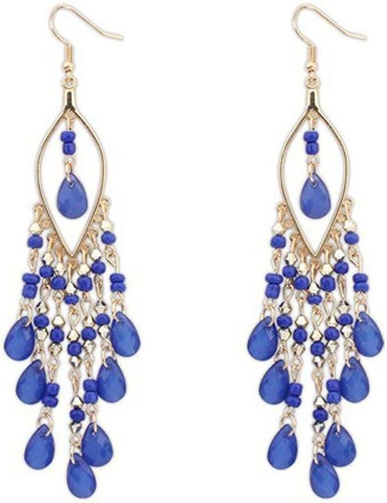 Walaka 1 Pair Charme Boh/ème Color/é Perles Oreilles Gouttes Dangle Glands Femmes Boucles doreilles