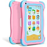 """YUNTAB Q91 Kids Edition Tablet, 7"""" Display, 8 GB, WiFi, Kids Software Pre-Installed, Premium Parent Control, Educational Game Apps, Protecting Silicone Case (CuProtecting Silicone Case (Cute pink-Q91)"""
