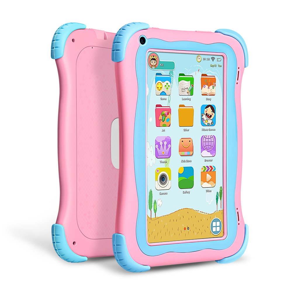 Yuntab Q91 7 inch Android 5.1 Kids Edition Tablet PC with Premium Parent Control Kids Software Pre-Installed Allwinner A33 Quad-core, 1+8GB, Duanl Camera, WiFi , Bluetooch tablet for kids (Pink) by Yuntab