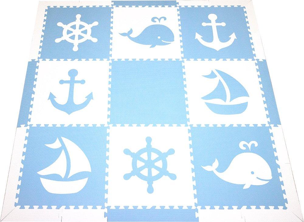 SoftTiles Foam Children's Playmat- Nautical Ocean Theme- Interlocking Large 2 Foot Tiles for Baby Nursery/Kids Playrooms 78'' x 78'' (Light Blue, White) SCNAUWS