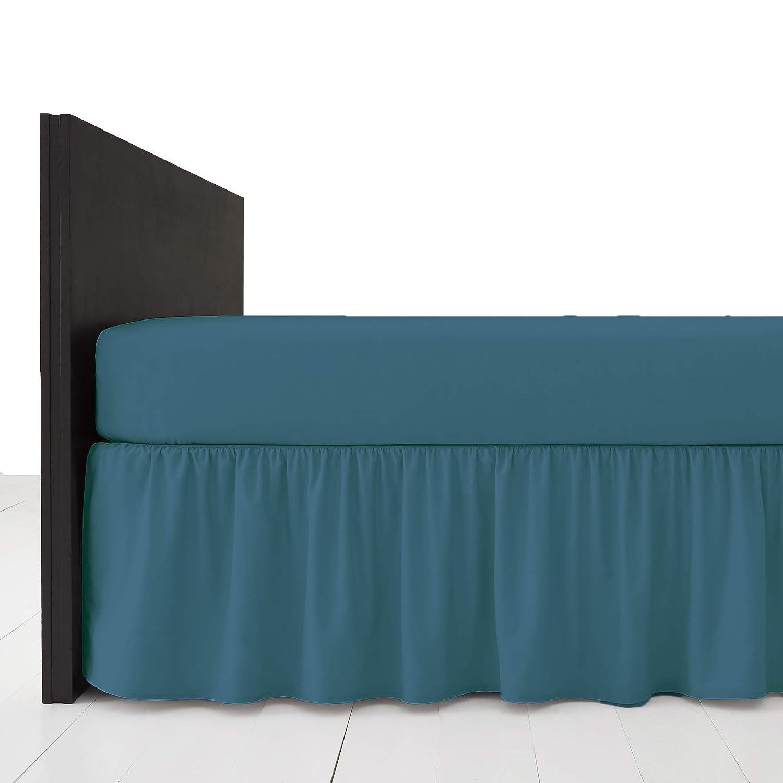 AmigoZone Plain Pollycotton Frilled Bed Base Valance Sheet (Black, Double) Larra Limited