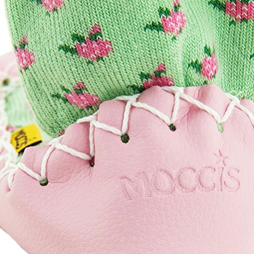Moccis Die Rosen Kind / Junior - Leder Mokassins Hausschuhe Socken Pink