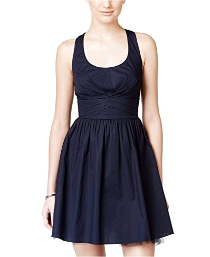 3b7b8f213 Crystal Doll Junior's Crisscross Bow-Back Fit & Flare Dress Navy 7 at Amazon  Women's Clothing store: