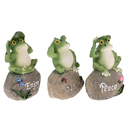 MagiDeal Lovely Decorative Statue 3 Frogs Animal Model Figurine Home Garden  Lawn Decor Ornaments Collections Gift