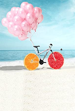 leowefowa 3 x 5ft fotografía telón de fondo vinilo fino fondo rosa globo frutas rueda playa