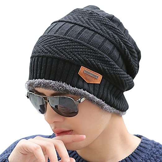 HINDAWI Slouchy Beanie Winter Hats for Men Windproof Warm Snow Knit Skull  Cap Black 95a0a335c567
