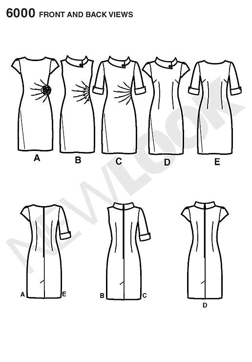New Look 6000 - Patrón de costura para vestido de señora (tallas 30 ...