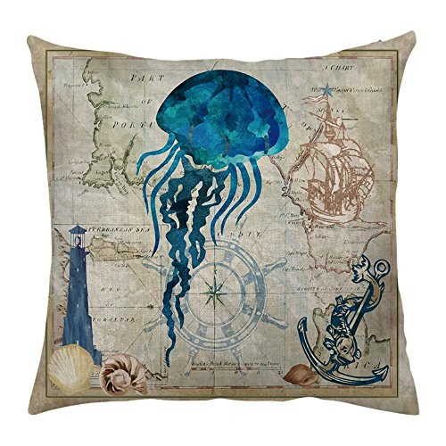Ocean Park 4pcs Throw Pillow Cover Sea Theme Marine Animal Set Outdoor Beach Decorative Sofa Bench Cushion Covers Coastal Theme 18''x 18'' Burlap by Shenermay (Image #3)
