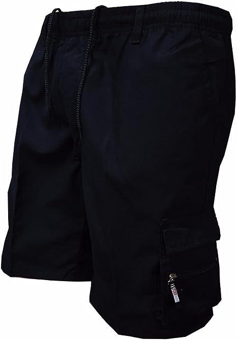 Hurrybuy Fashion Men Casual Cotton Drawstring Elastic Waist Beach Work Shorts Pants