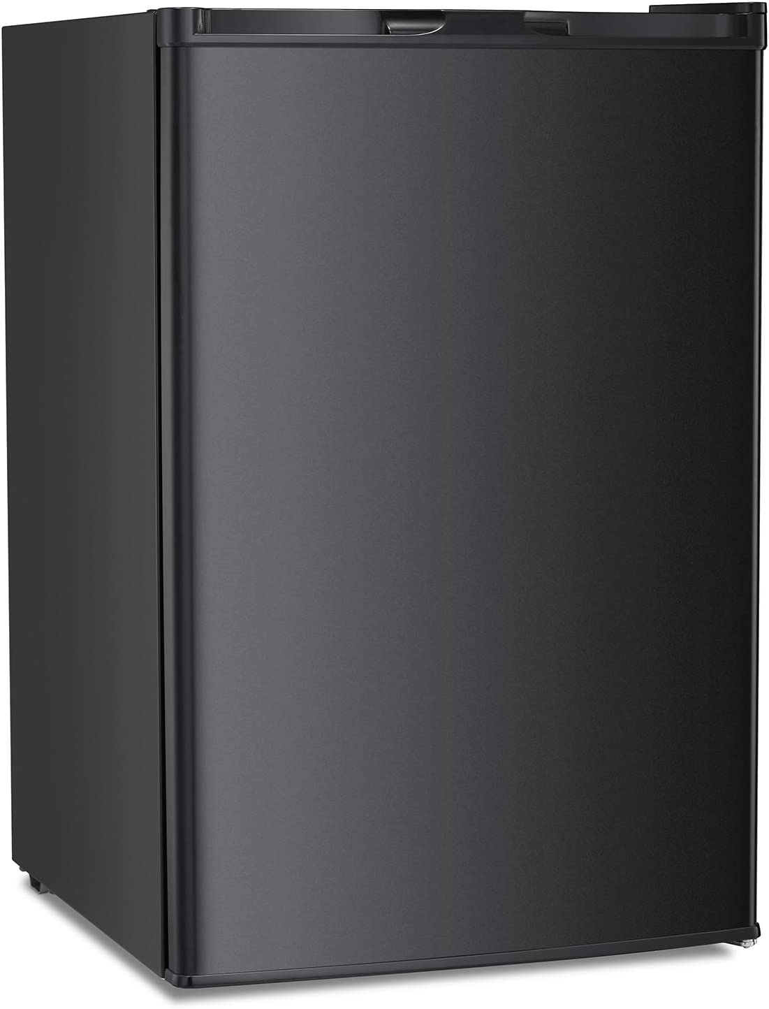 Antarctic Star Compact Chest Upright Freezer Single Door Reversible Stainless Steel Door, Compact Adjustable Removable Shelves for Home Office, 3.0 cu.Black