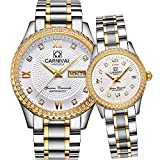CARNIVAL Couple Watches Men and Women Automatic Mechanical Watch Romantic for Her or His Set of 2 (Gold White)