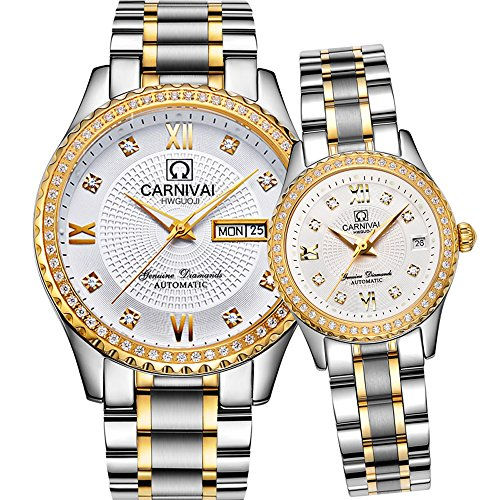 CARNIVAL Couple Watches Men and Women Automatic Mechanical Watch Romantic for Her or His Set of 2 (Gold White) by Carnival