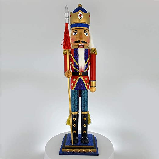 Christmas Nutcracker Figure King Glitzy Red Sequin Jacket and Sparkle Rhinestones Large Slim 20 Inch