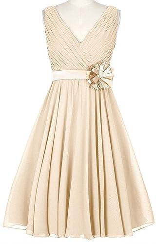 DianSheng Women's V-neck A-line Short Prom Homecoming Dress with Flower Sash