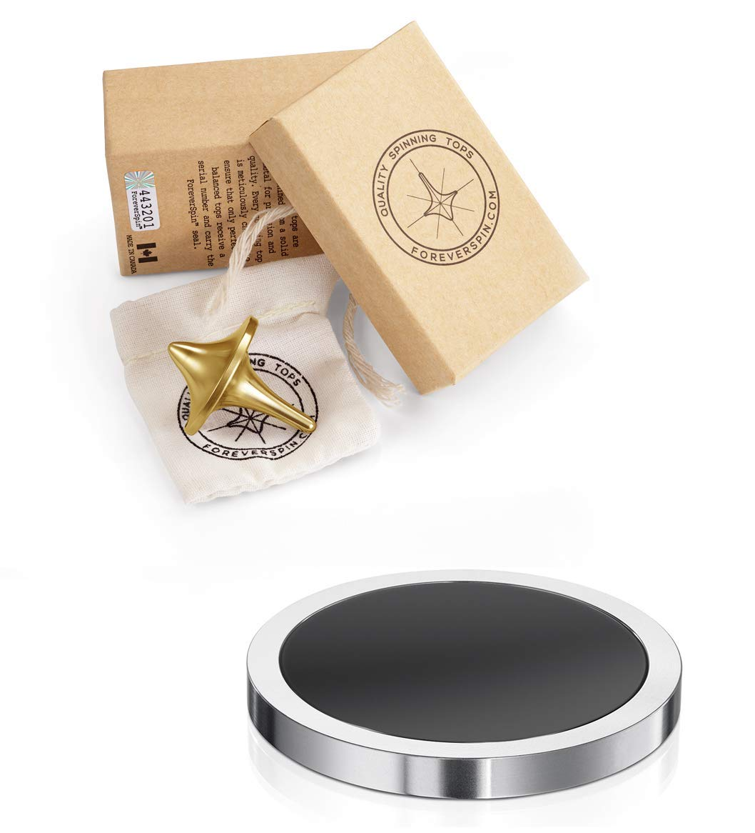ForeverSpin 24kt Gold Plated(Brush-Finish) Top and Spinning Base Pack - World Famous Spinning Tops by ForeverSpin