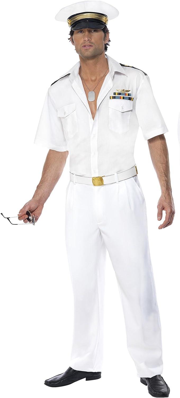SmiffyS 32896L Disfraz De Capitán De Top Gun Con Camisa, Pantalón Y Sombrero, Blanco, L - Tamaño 42