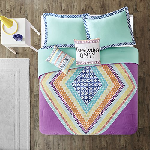 Intelligent Design Lani Comforter Set Full/Queen Size - Purple, Aqua, Geometric Diamond – 5 Piece Bed Sets – Ultra Soft Microfiber Teen Bedding for Girls Bedroom