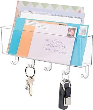 Prospekte Schl/üsselbrett mit Ablage f/ür ordentliche Aufbewahrung von Schl/üssel Organizer Eingangsbereich mDesign Briefablage und Schl/üsselleiste Farbe: durchsichtig Briefe