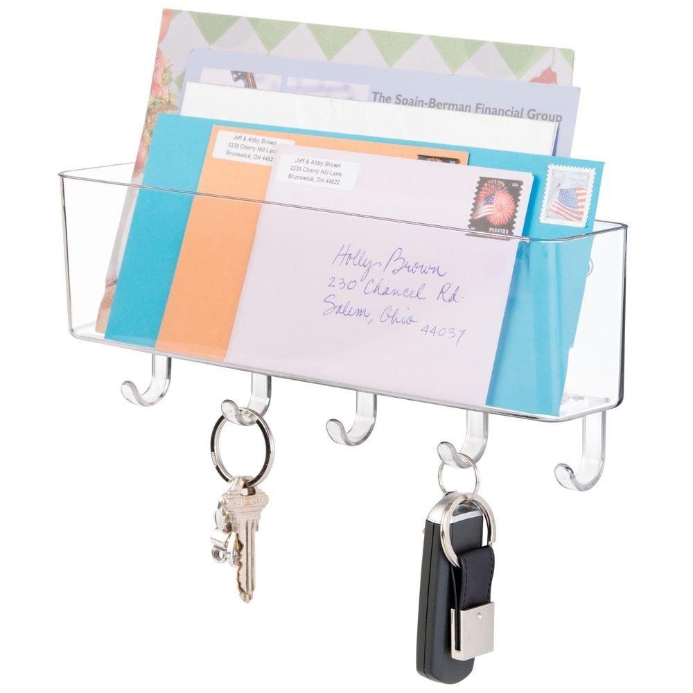 de pared porta llaveros; para vest/íbulo soporte para cartas Estante organizador para correspondencia cocina mDesign Blanco