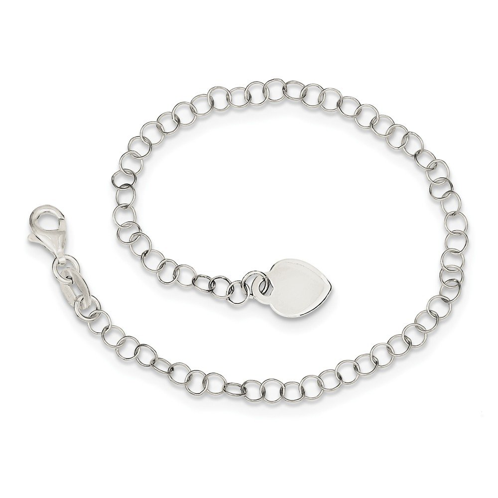 925 Sterling Silver Heart Charm Childs Bracelet 6 Inch Fine Jewelry Gifts For Women For Her