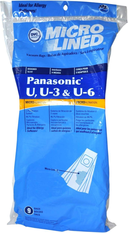 DVC Style U U-3 and U-6 Style Upright Vacuum Bags Designed to Fit Panasonic 9 Pack