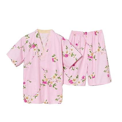 Pijamas de algodón dulce de color rosa pijama traje estilo kimono holgazán desgaste casero pijamas