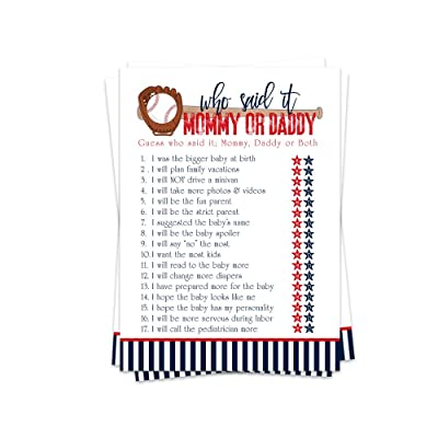 Baseball Baby Shower Games Mommy or Daddy Said It (25 Pack) Guess Who Knows Parents Best: Kitchen & Dining